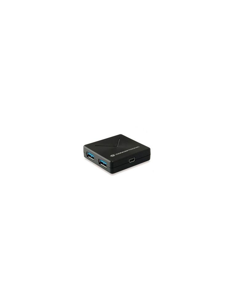 HUB CONCEPTRONIC 4puertos USB3.0 Negro (HUBBIES02B)